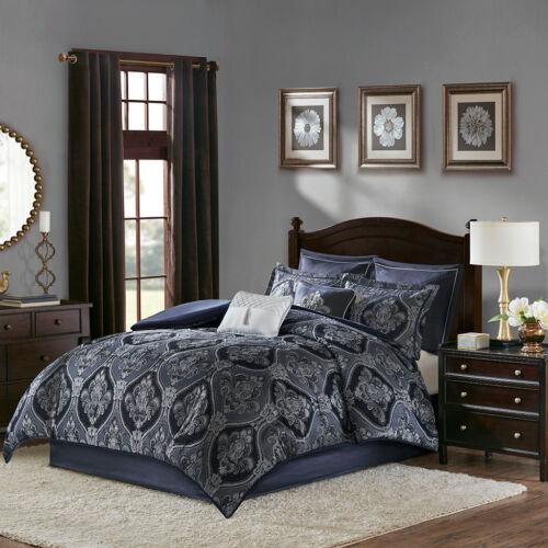 Luxurious Blue Jacquard Damask Silky Comforter 8 pcs Cal King Queen Set