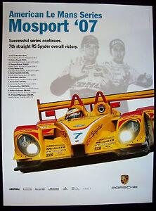 PORSCHE RS SPYDER AMERICAN LE MANS SERIES ALMS MOSPORT RACECAR POSTER 2007