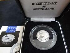1992 SILVER PROOF NEW ZEALAND $1 PIEDFORT COIN BOX + COA  N Z FIRST PIEDFORT