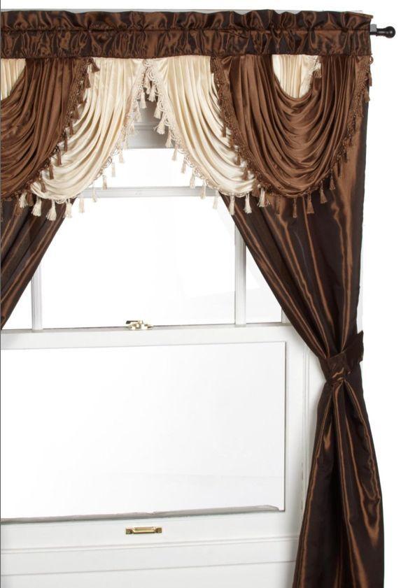 55x18 In Coffee Melanie Faux Silk Scalloped Window Valance With Beaded Tassels