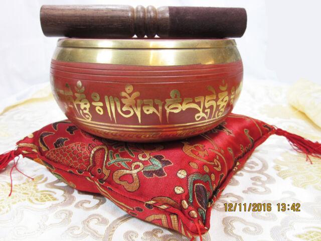 """INTRICATE GOLD DETAIL 6"""" MANTRA TIBETAN BUDDHIST SINGING BOWL 3 PIECE SET NEPAL"""