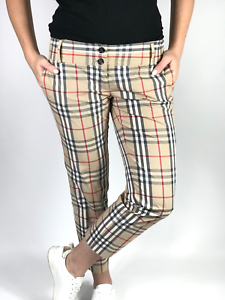 BURBERRY-women-039-s-checkered-nova-check-short-chino-pants-Size-US-8-UK-10-ITA-42