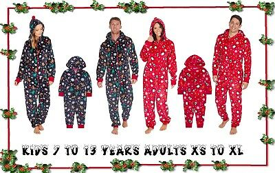 Ordentlich New Womens Mens Kids Fleece Christmas Family Matching All In One Onezee Pyjamas Grade Produkte Nach QualitäT