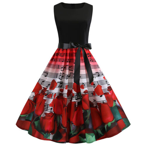 Women Vintage 1950s 60s Retro Evening Party Swing Ball Gown Rockabilly Dress