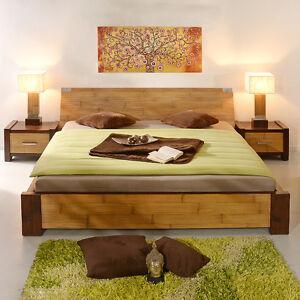 bambusbett 200x200 luzon natur braun bettrahmen modern massiv holz bett neu spa ebay. Black Bedroom Furniture Sets. Home Design Ideas