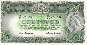 AUSTRALIA 1 POUND BANKNOTE Coombs Wilson R34b Emerald Green Back - MINT UNC