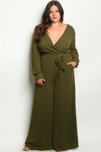 Womens Plus Size Jumpsuit Wide Leg Olive Green with Pockets 3X NWT