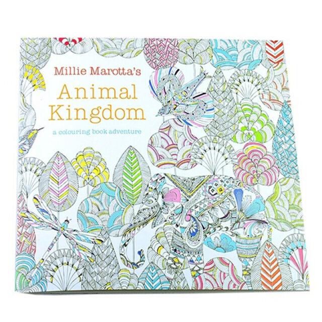 Children Adult Animal Kingdom Treasure Hunt Coloring Painting Book SH