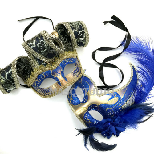 Trimmed Blue Masquerade Ball Jester Mask Pair Birthday Costume School Prom Party