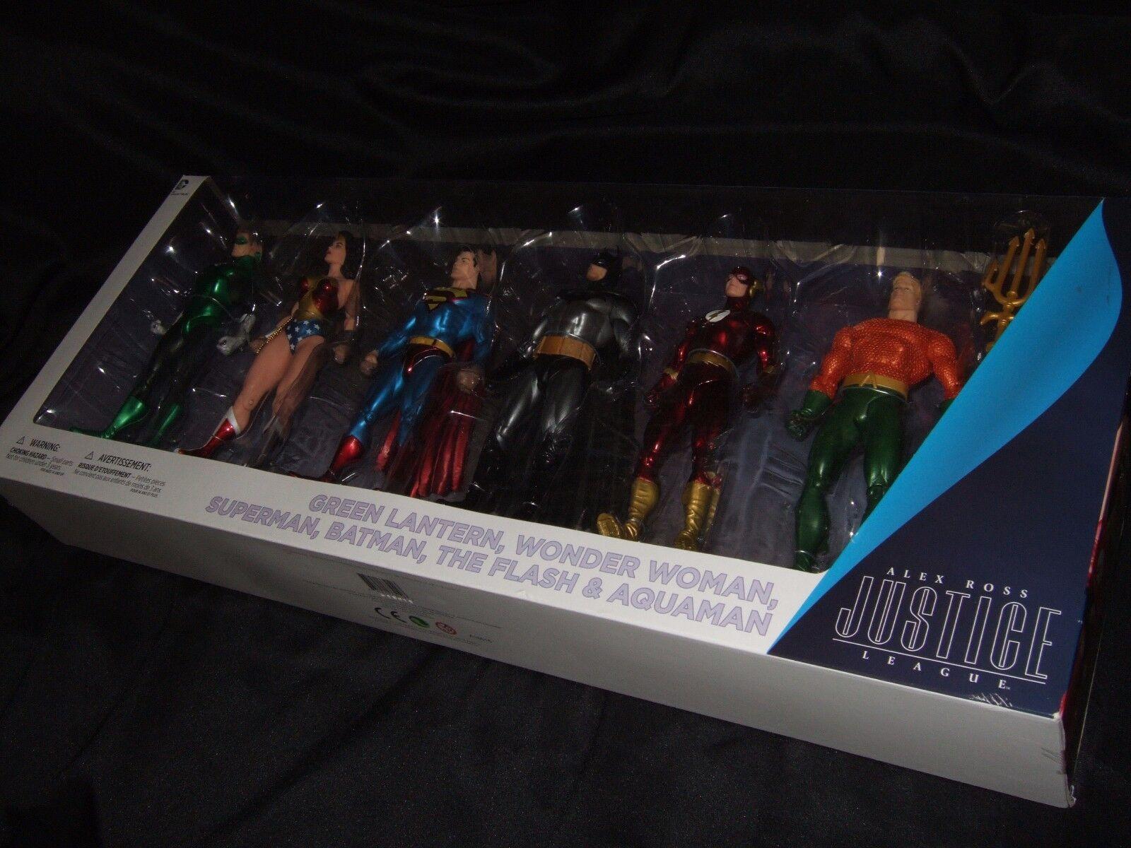 Alex Ross Justice League 6 Figure Set Batman Superman Flash Wonder Woman Aquaman