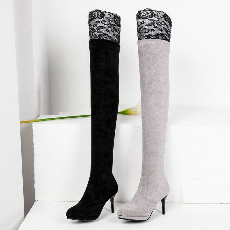 Womens Slim Heel Elastic Faux Suede Pointed shoes Lace Thigh High Platform Boots