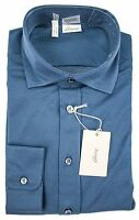 Brioni Italy Blue Extrafine Woven Cotton Button Down Shirt 16 41 L