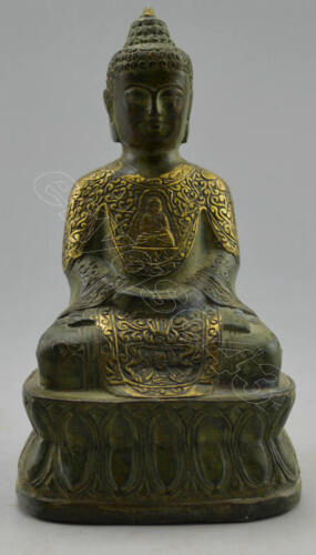 Collectible Decorated Old Handwork Bronze Carved Buddha Pray Safeness Statue
