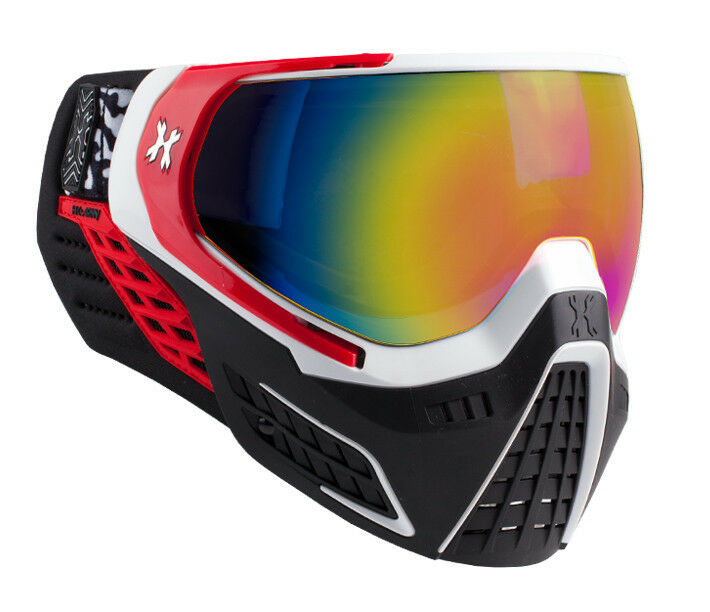 New HK Army KLR Thermal Paintball Goggles Mask - Scorch Red White - Fusion Lens