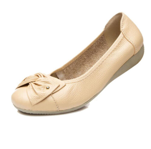 Womens Leather Slip On Flat Loafers Casual Work Ballet Pumps Bow Comfort Shoes