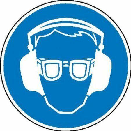 5cm DE485 Aufkleber und Augenschutz benutzen Gebotsschild auf Bogen Gehör