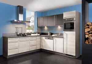 Küche mit elektrogeräten  Design L Küche KOMPLETT Elektrogeräte Einbauküche Schnee-Eiche ...