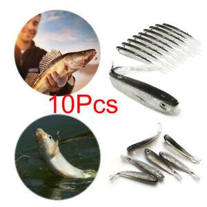 10pcs LRF Soft Real Minnow Bait Drop Shot Fishing Lure Perch//Pike//Chub-Durable
