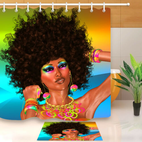 African Make up curls woman Bathroom Fabric Shower Curtain Waterproof 12 Hooks