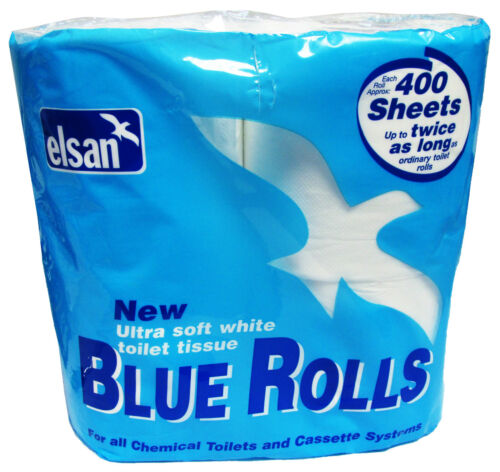 ELSAN BLUE TOILET ROLLS caravan motorhome boat 4 rolls 1 pack