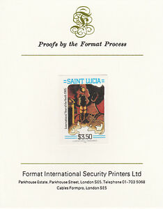 St Lucia 4260 - 1985 YOUTH YEAR $3.50 imperf on Format International PROOF CARD