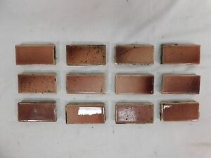 12 - Antique TRENT 1 x 3 Fireplace Hearth Tiles - C. 1885 Architectural Salvage