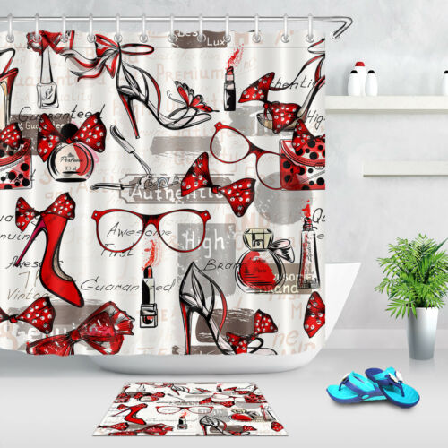 Bath cortina de ducha Belleza y Moda Zapatos Taco Alto Hembra bolsas de lápiz labial rojo