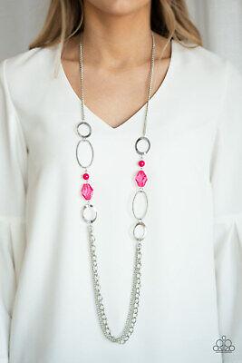 Paparazzi Jewelry Jewel Jubilee Pink Bead Silver Hoop Long