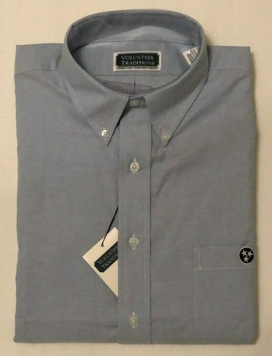 NWT Mens Volunteer Traditions Classic bluee TRISTAR Button Down Dress Shirt Large