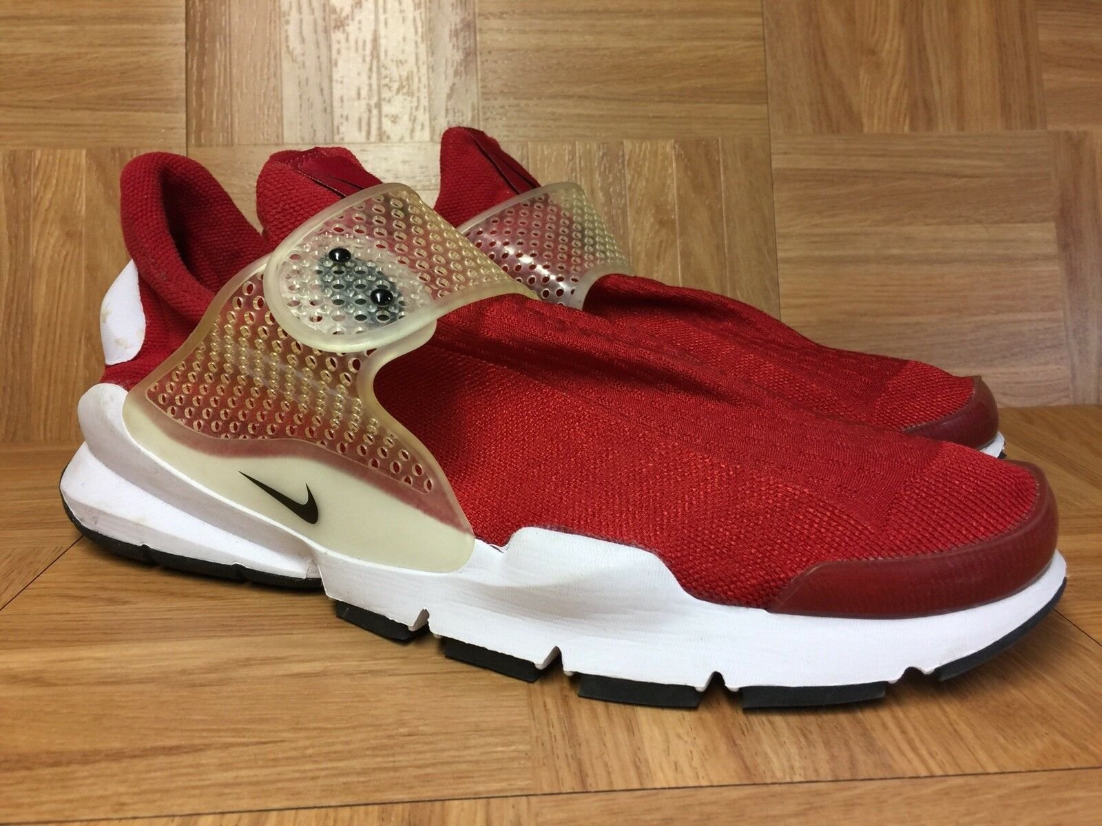 RARE Nike Sock Dart Gym Red White Sz 13 819686-601 Men's shoes LE Perf Strap