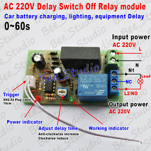 AC220V 10A 0~60s Adjustable Time Delay Turn OFF Delay Timer Relay Control Switch