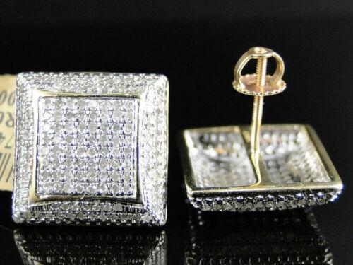 Or 18K Carré Cubique Zircone Clous D/'Oreilles Pour Hommes Femmes Mariage Bijoux Cadeau