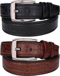 Men's Womens Alligator Leather Dress Casual Belt Genuine Textured Crocodile Croc