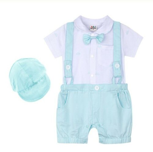 Baby boy costume Gentleman Romper suit /& hat for toddlers Wedding Party jumpsuit