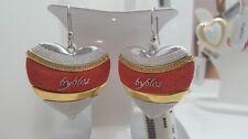 Orecchini Byblos Temptation Cuori Rossi Dorati Acciaio Earrings Steel Red Golden