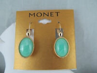 Monet Gold & Marbled Green Stone Statement Dangle Earrings, Signed