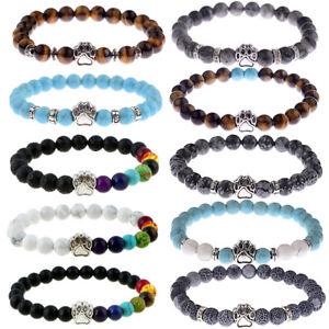 Fashion-Men-039-s-Bracelets-Cute-Cat-Paw-Rock-Lava-Howlite-Beads-Women-Bracelets