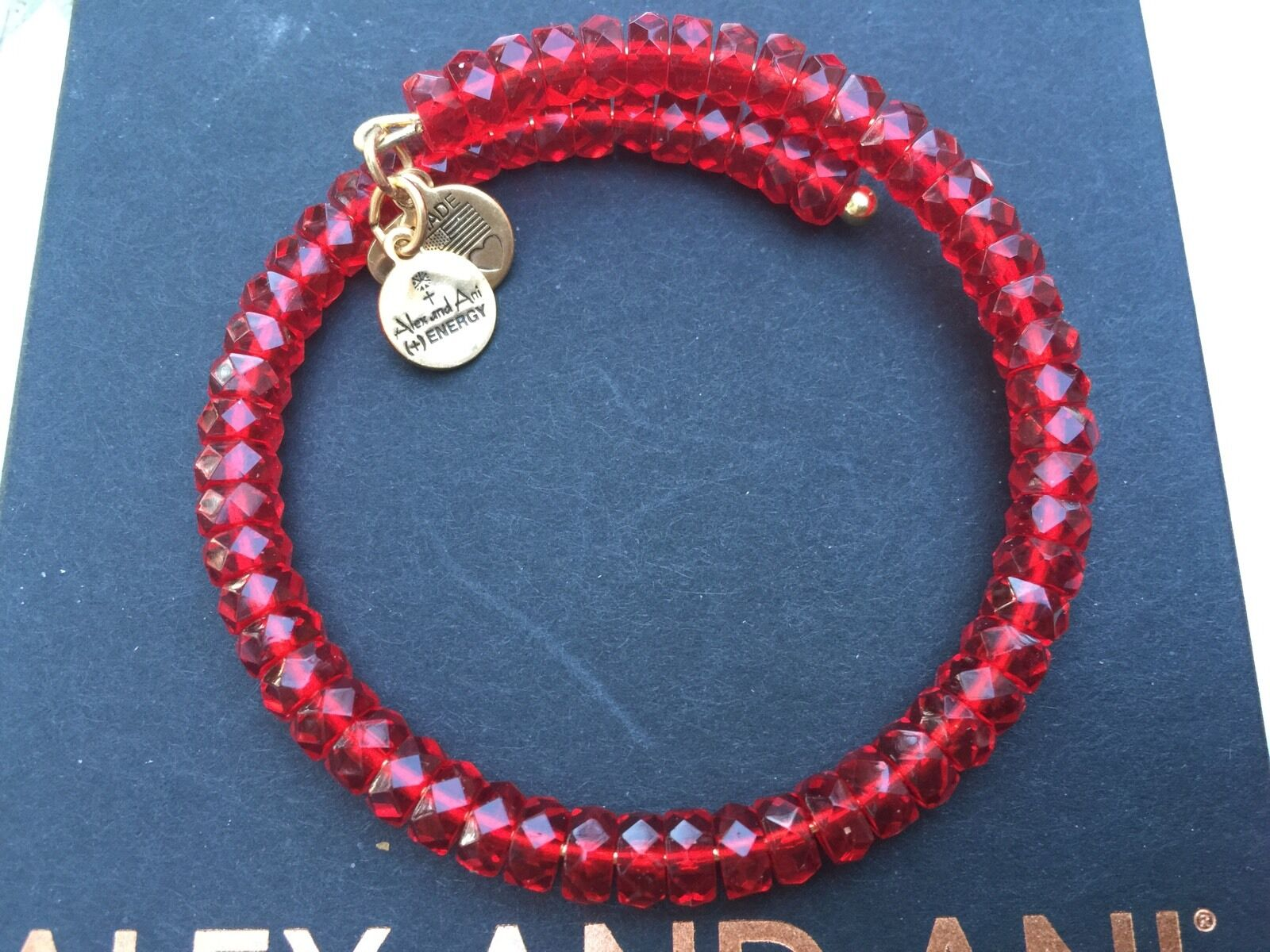 NEW ALEX and ANI VINTAGE 66 Russian gold Xmas RED STARLET Beaded Wrap BRACELET