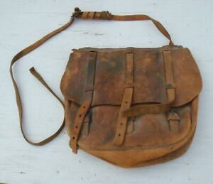 Vintage-CIVIL-WAR-WWI-US-Calvary-Mail-Leather-Saddle-Hand-Bag-Collectible