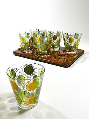 Vintage Double Old Fashioned Tumbler Glasses Art Deco Tortoise Shell Tray