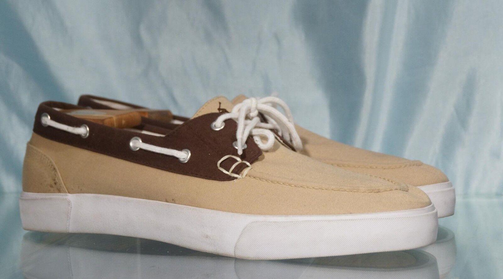 Handsome Beige & Brown Canvas RALPH LAUREN POLO Boat shoes 13D