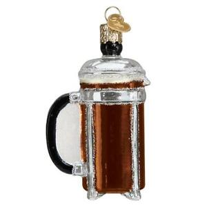 Old World Christmas FRENCH COFFEE PRESS (32366)N Glass Ornament w/ OWC Box