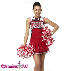 Image is loading Ladies-Glee-Cheerleader-Costume-School-Girl-Full-Outfits-  sc 1 st  eBay & Ladies Glee Cheerleader Costume School Girl Full Outfits Fancy Dress ...