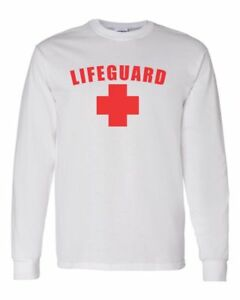 LIFEGUARD-Long-Sleeve-Printed-Tee-White-Beach-Safety-Free-Shipping