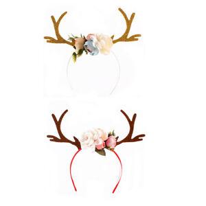 Filles-populaires-Kid-Deer-Costume-oreille-Fete-Hairband-renne-bois-Bandeau