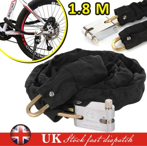 1.8M Metal Motorbike Motorcycle Bicycle Heavy Duty Chain Lock Padlock Bike Cycle