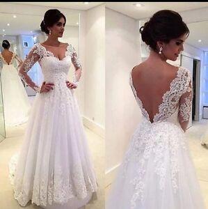 UK-White-ivory-V-Neck-Lace-Long-Sleeve-A-Line-Bridal-Wedding-Dresses-Size-6-22
