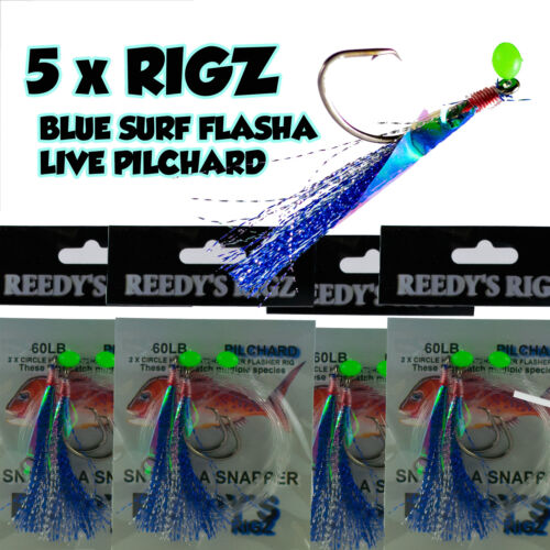5x Snapper Snatchers Rig Paternoster Rig Tied 60Lb Leader Twin Hook Rigs Fishing