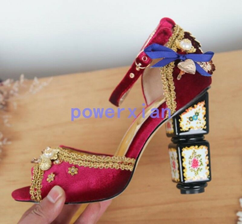 Luxury donna Rhinestone Pearl Open Toe Chunky High Heel scarpe Sandals ALL US Sz