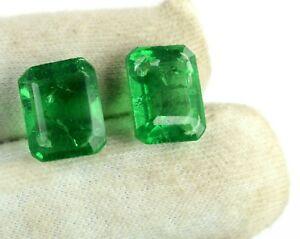 Green Emerald emerald Cut Gemstone Natural Zambian 16 Carat Pair AGI Certified